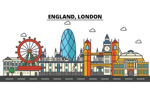 England, London. City skyline: architecture, buildings, streets, silhouette, landscape, panorama, landmarks. Editable strokes. Flat design line vector illustration concept. Isolated icons set