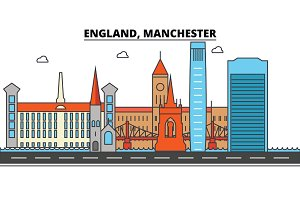 England, Manchester. City skyline: architecture, buildings, streets, silhouette, landscape, panorama, landmarks. Editable strokes. Flat design line vector illustration concept. Isolated icons set
