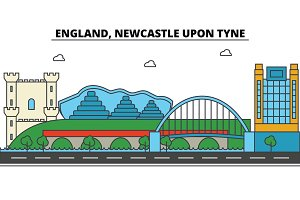 England, Newcastle Upon Tyne. City skyline: architecture, buildings, streets, silhouette, landscape, panorama, landmarks. Editable strokes. Flat design line vector illustration concept. Icons set