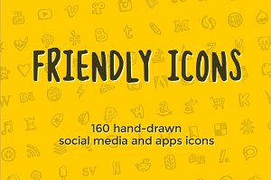 Friendly Icons: 160 social icons