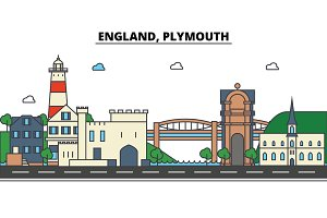 England, Plymouth. City skyline: architecture, buildings, streets, silhouette, landscape, panorama, landmarks. Editable strokes. Flat design line vector illustration concept. Isolated icons set