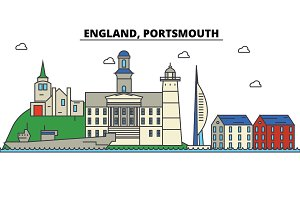 England, Portsmouth. City skyline: architecture, buildings, streets, silhouette, landscape, panorama, landmarks. Editable strokes. Flat design line vector illustration concept. Isolated icons set