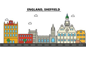 England, Sheffield. City skyline: architecture, buildings, streets, silhouette, landscape, panorama, landmarks. Editable strokes. Flat design line vector illustration concept. Isolated icons set