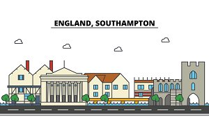 England, Southampton. City skyline: architecture, buildings, streets, silhouette, landscape, panorama, landmarks. Editable strokes. Flat design line vector illustration concept. Isolated icons set
