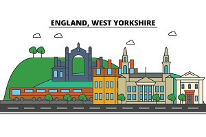 England, West Yorkshire. City skyline: architecture, buildings, streets, silhouette, landscape, panorama, landmarks. Editable strokes. Flat design line vector illustration concept. Isolated icons set