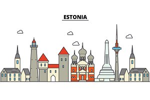 Estonia, Talinn. City skyline: architecture, buildings, streets, silhouette, landscape, panorama, landmarks. Editable strokes. Flat design line vector illustration concept. Isolated icons set