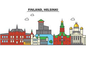 Finland, Helsinki. City skyline: architecture, buildings, streets, silhouette, landscape, panorama, landmarks. Editable strokes. Flat design line vector illustration concept. Isolated icons set