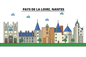 France, Nantes, Pays De La Loire. City skyline: architecture, buildings, streets, silhouette, landscape, panorama, landmarks. Editable strokes. Flat design line vector illustration concept. Isolated icons set