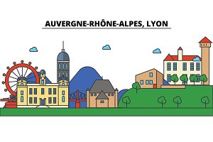 France, Lyon, Auvergne Rhone Alpes . City skyline: architecture, buildings, streets, silhouette, landscape, panorama, landmarks. Editable strokes. Flat design line vector illustration. Icons set