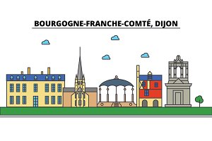 France, Dijon, Bourgogne Franche Comte . City skyline: architecture, buildings, streets, silhouette, landscape, panorama, landmarks. Editable strokes. Flat design line vector illustration concept. Isolated icons set