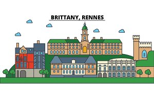France, Brittany, Rennes. City skyline: architecture, buildings, streets, silhouette, landscape, panorama, landmarks. Editable strokes. Flat design line vector illustration concept. Isolated icons set