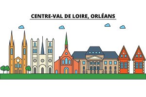France, Orleans, Centre Val De Loire . City skyline: architecture, buildings, streets, silhouette, landscape, panorama, landmarks, icons. Editable strokes . Flat design line vector illustration concept