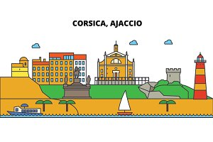 France, Ajaccio, Corsica. City skyline: architecture, buildings, streets, silhouette, landscape, panorama, landmarks. Editable strokes. Flat design line vector illustration concept. Isolated icons set
