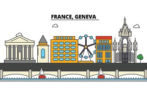 France, Geneva. City skyline: architecture, buildings, streets, silhouette, landscape, panorama, landmarks. Editable strokes. Flat design line vector illustration concept. Isolated icons set