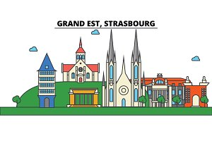 France, Strasbourg, Grand Est. City skyline: architecture, buildings, streets, silhouette, landscape, panorama, landmarks. Editable strokes. Flat design line vector illustration. Isolated icons set