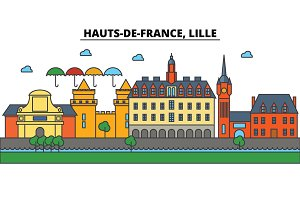 France, Lille, Hauts De France . City skyline: architecture, buildings, streets, silhouette, landscape, panorama, landmarks. Editable strokes. Flat design line vector illustration. Isolated icons set