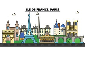 France, Paris, Ile De France . City skyline: architecture, buildings, streets, silhouette, landscape, panorama, landmarks. Editable strokes. Flat design line vector illustration concept. Isolated icons set
