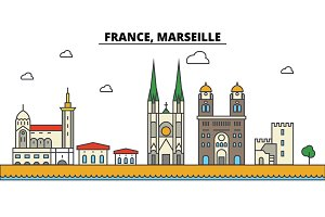 France, Marseille. City skyline: architecture, buildings, streets, silhouette, landscape, panorama, landmarks. Editable strokes. Flat design line vector illustration concept. Isolated icons set