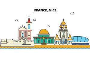 France, Nice. City skyline: architecture, buildings, streets, silhouette, landscape, panorama, landmarks. Editable strokes. Flat design line vector illustration concept. Isolated icons set