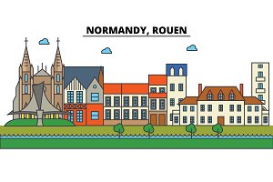 France, Rouen, Normandy. City skyline: architecture, buildings, streets, silhouette, landscape, panorama, landmarks. Editable strokes. Flat design line vector illustration concept. Isolated icons set