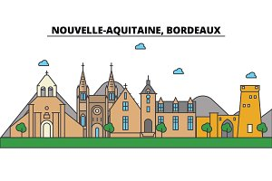 France, Bordeaux, Nouvelle Aquitaine . City skyline: architecture, buildings, streets, silhouette, landscape, panorama, landmarks. Editable strokes. Flat design line vector illustration