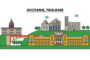 France, Toulouse, Occitanie. City skyline: architecture, buildings, streets, silhouette, landscape, panorama, landmarks. Editable strokes. Flat design line vector illustration
