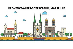France, Marseille, Provence Alpes Cote D Azur. City skyline: architecture, buildings, streets, silhouette, landscape, panorama, landmarks. Editable strokes. Flat design line vector illustration concept. Isolated icons set