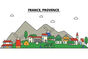 France, Provence. City skyline: architecture, buildings, streets, silhouette, landscape, panorama, landmarks. Editable strokes. Flat design line vector illustration concept. Isolated icons set