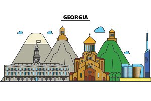 Georgia, Tbilisi. City skyline: architecture, buildings, streets, silhouette, landscape, panorama, landmarks. Editable strokes. Flat design line vector illustration concept. Isolated icons set