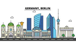 Germany, Berlin. City skyline: architecture, buildings, streets, silhouette, landscape, panorama, landmarks. Editable strokes. Flat design line vector illustration concept. Isolated icons set