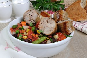 Homemade sausages with vegetables