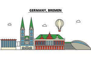 Germany, Bremen. City skyline: architecture, buildings, streets, silhouette, landscape, panorama, landmarks. Editable strokes. Flat design line vector illustration concept. Isolated icons set
