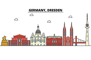 Germany, Dresden. City skyline: architecture, buildings, streets, silhouette, landscape, panorama, landmarks. Editable strokes. Flat design line vector illustration concept. Isolated icons set