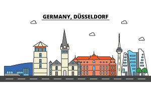 Germany, Dusseldorf. City skyline: architecture, buildings, streets, silhouette, landscape, panorama, landmarks. Editable strokes. Flat design line vector illustration concept. Isolated icons set