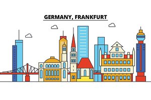 Germany, Frankfurt. City skyline: architecture, buildings, streets, silhouette, landscape, panorama, landmarks. Editable strokes. Flat design line vector illustration concept. Isolated icons set