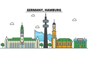 Germany, Hamburg. City skyline: architecture, buildings, streets, silhouette, landscape, panorama, landmarks. Editable strokes. Flat design line vector illustration concept. Isolated icons set