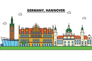 Germany, Hannover. City skyline: architecture, buildings, streets, silhouette, landscape, panorama, landmarks. Editable strokes. Flat design line vector illustration concept. Isolated icons set