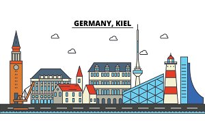 Germany, Kiel. City skyline: architecture, buildings, streets, silhouette, landscape, panorama, landmarks. Editable strokes. Flat design line vector illustration concept. Isolated icons set