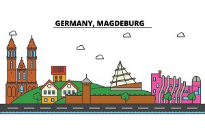 Germany, Magdeburg. City skyline: architecture, buildings, streets, silhouette, landscape, panorama, landmarks. Editable strokes. Flat design line vector illustration concept. Isolated icons set