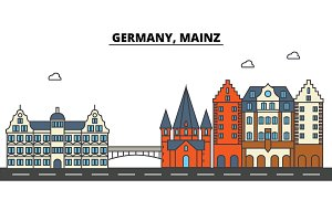 Germany, Mainz. City skyline: architecture, buildings, streets, silhouette, landscape, panorama, landmarks. Editable strokes. Flat design line vector illustration concept. Isolated icons set
