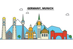 Germany, Munich. City skyline: architecture, buildings, streets, silhouette, landscape, panorama, landmarks. Editable strokes. Flat design line vector illustration concept. Isolated icons set