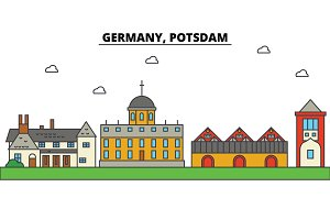 Germany, Potsdam. City skyline: architecture, buildings, streets, silhouette, landscape, panorama, landmarks. Editable strokes. Flat design line vector illustration concept. Isolated icons set