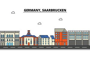 Germany, Saarbrucken. City skyline: architecture, buildings, streets, silhouette, landscape, panorama, landmarks. Editable strokes. Flat design line vector illustration concept. Isolated icons set