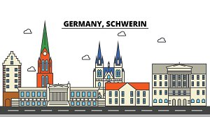 Germany, Schwerin. City skyline: architecture, buildings, streets, silhouette, landscape, panorama, landmarks. Editable strokes. Flat design line vector illustration concept. Isolated icons set