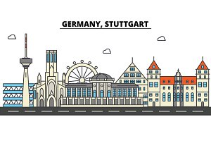 Germany, Stuttgart. City skyline: architecture, buildings, streets, silhouette, landscape, panorama, landmarks. Editable strokes. Flat design line vector illustration concept. Isolated icons set