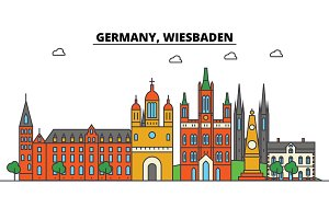 Germany, Wiesbaden. City skyline: architecture, buildings, streets, silhouette, landscape, panorama, landmarks. Editable strokes. Flat design line vector illustration concept. Isolated icons set