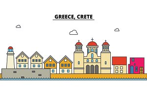 Greece, Crete. City skyline: architecture, buildings, streets, silhouette, landscape, panorama, landmarks. Editable strokes. Flat design line vector illustration concept. Isolated icons set