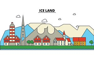 Ice, Land. City skyline: architecture, buildings, streets, silhouette, landscape, panorama, landmarks. Editable strokes. Flat design line vector illustration concept. Isolated icons set