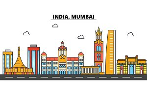 India, Mumbai. City skyline: architecture, buildings, streets, silhouette, landscape, panorama, landmarks. Editable strokes. Flat design line vector illustration concept. Isolated icons set
