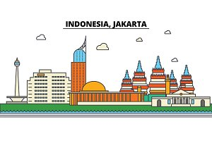 Indonesia, Jakarta. City skyline: architecture, buildings, streets, silhouette, landscape, panorama, landmarks. Editable strokes. Flat design line vector illustration concept. Isolated icons set
